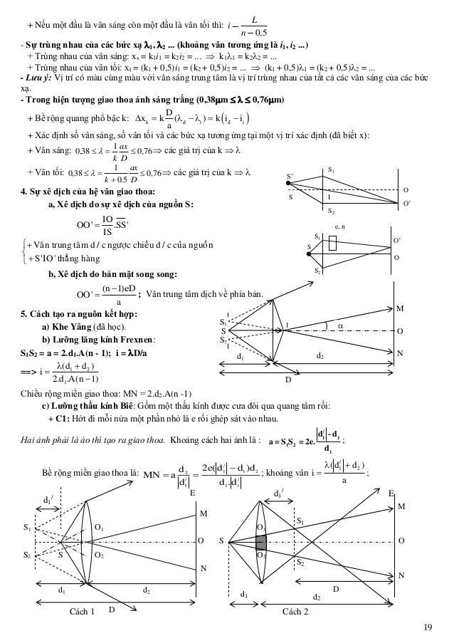 19 + Nếu một đầu là vân sáng còn một đầu là vân tối thì: 0,5 L i n - Sự trùng nhau của các bức xạ 1, 2 ... khoảng vân tư...