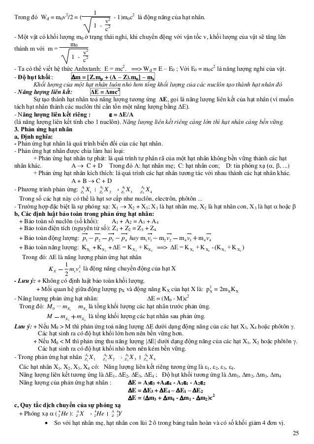 25 Trong đó Wđ = m0v2 /2 = ( 1 1 - v2 c2 - 1)m0c2 là động năng của hạt nhân. - Một vật có khối lượng m0 ở trạng thái nghỉ,...