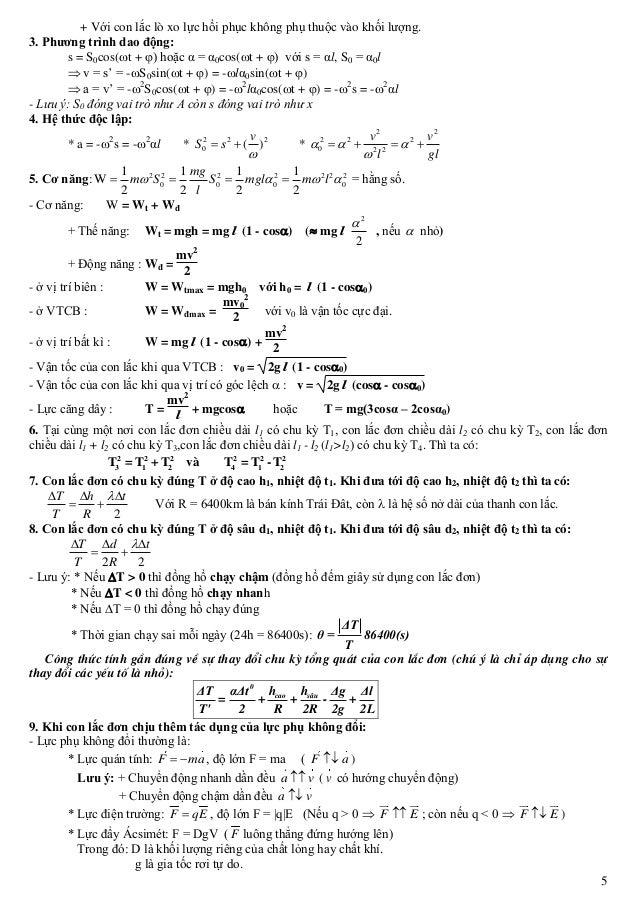 5 + Với con lắc lò xo lực hồi phục không phụ thuộc vào khối lượng. 3. Phương trình dao động: s = S0cos(t + ) hoặc α = α0...