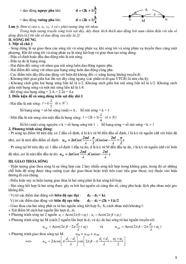 8 d1 0 N N d d2 M + dao động ngược pha khi: d = (2k + 1)  2 + dao động vuông pha khi: d = (2k + 1)  4 Lưu ý: Đơn vị của ...