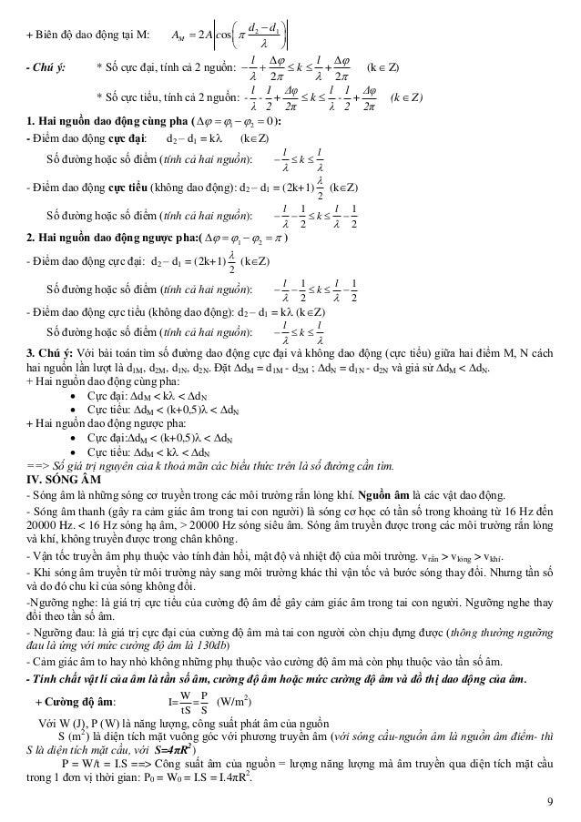 9 + Biên độ dao động tại M: 2 1 2 osM d d A A c          - Chú ý: * Số cực đại, tính cả 2 nguồn: + (k Z) 2 2  ...