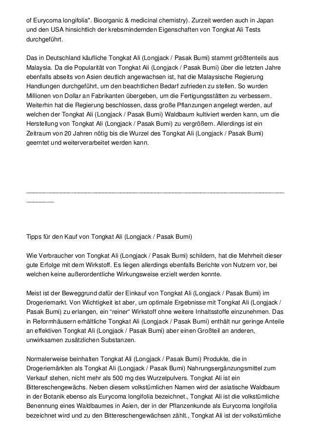 """of Eurycoma longifolia"""". Bioorganic & medicinal chemistry). Zurzeit werden auch in Japanund den USA hinsichtlich der krebs..."""