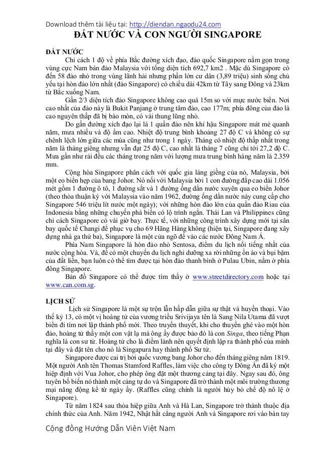 Download thêm tài liệu tại: http://diendan.ngaodu24.com Cộng đồng Hướng Dẫn Viên Việt Nam ĐẤT NƯỚC VÀ CON NGƯỜI SINGAPORE ...