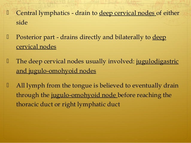  Central lymphatics - drain to deep cervical nodes of either side  Posterior part - drains directly and bilaterally to d...
