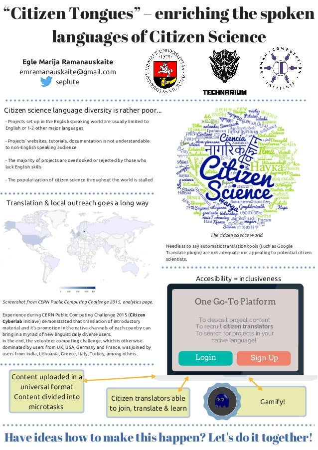 """Citizen Tongues"" – enriching the spoken languages of Citizen Science Egle Marija Ramanauskaite emramanauskaite@gmail.com ..."