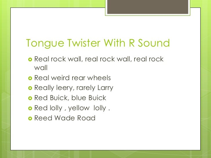Tongue Twister With R Sound
