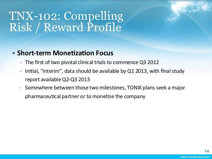 TNX-102: CompellingRisk / Reward Profile• Short-‐term MoneCzaCon Focus     -‐ The first of two pivotal...