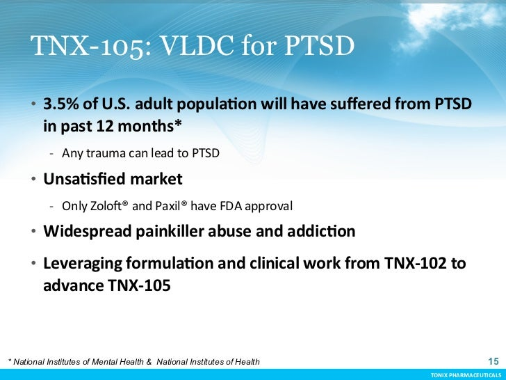 TNX-105: VLDC for PTSD      • 3.5% of U.S. adult populaCon will have suffered from PTSD          in ...