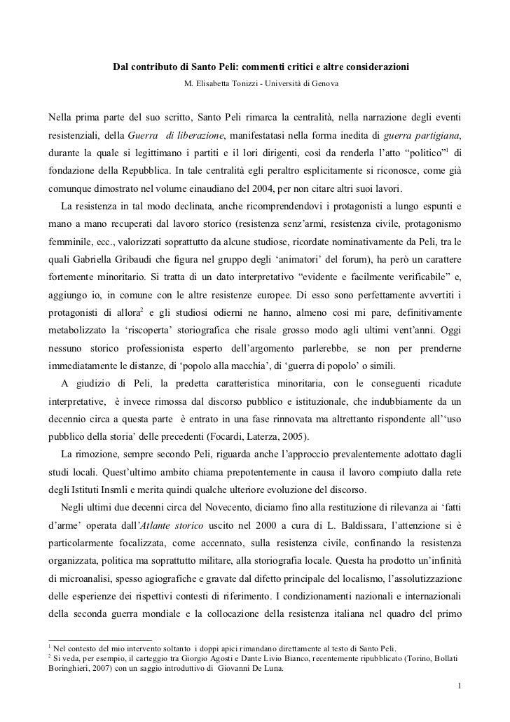 Dal contributo di Santo Peli: commenti critici e altre considerazioni                                       M. Elisabetta ...