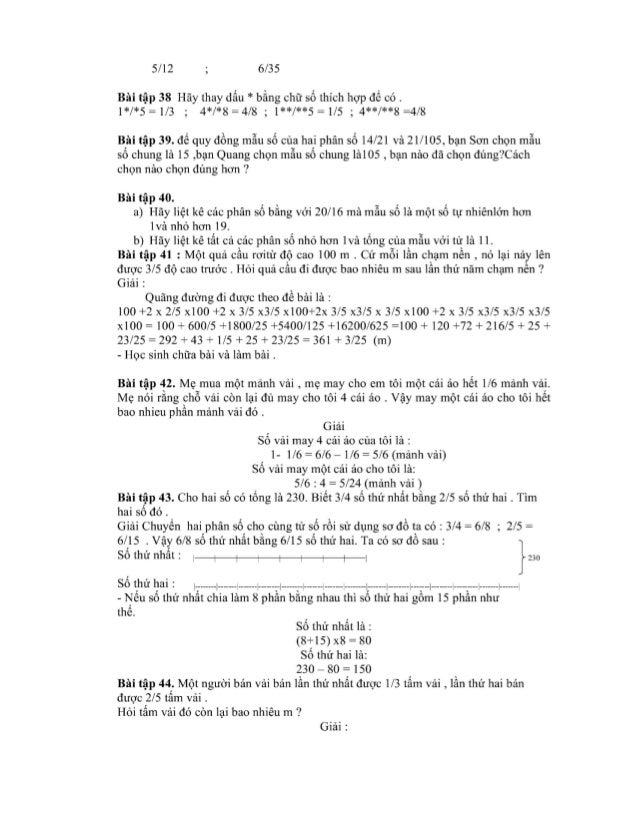 5/12 ; 6/35  Bài tập 38 Hãy thay dấu * bằng chữ số thích hợp để có . 1*/*5=1/3 ; 4*/*8=4/8 ; 1**/**5=1/5 ; 4**/**8 =4/8  B...