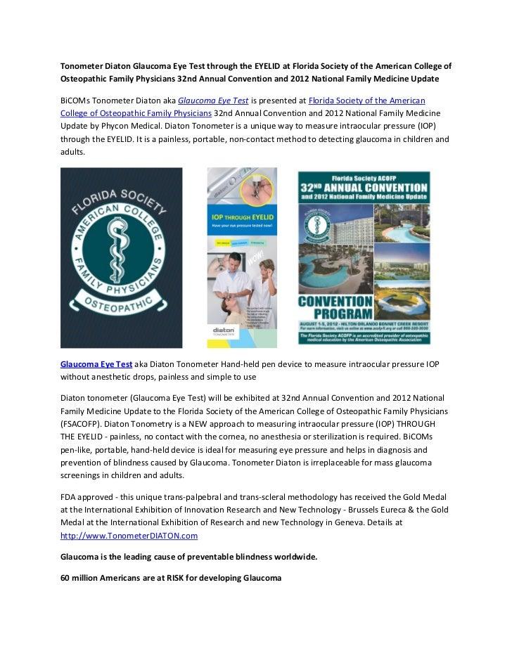 Tonometer Diaton Glaucoma Eye Test through the EYELID at Florida Society of the American College ofOsteopathic Family Phys...
