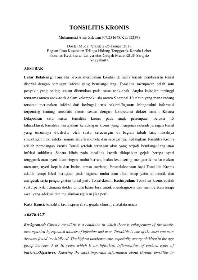 TONSILITIS KRONIS                     Muhammad Amir Zakwan (07/251648/KU/12239)                         Dokter Muda Period...