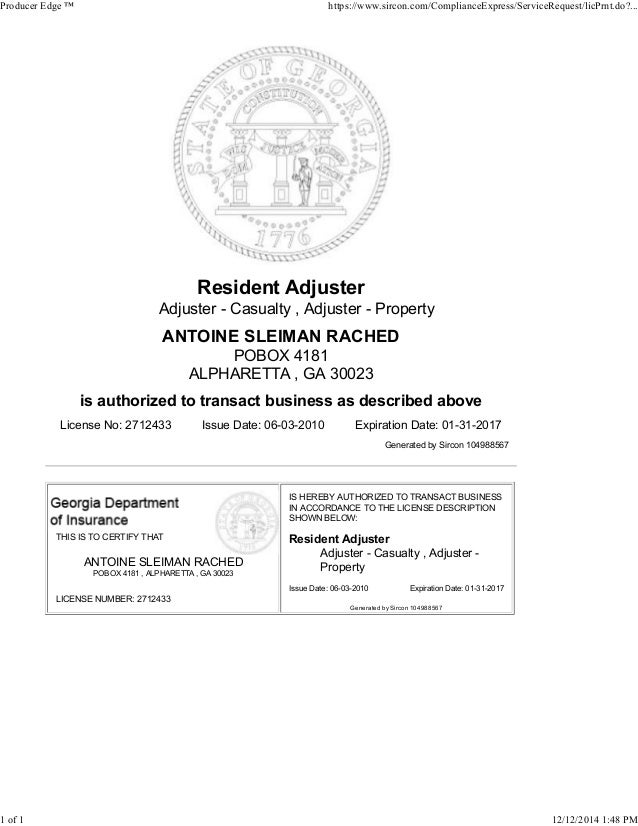 Tony rached-licensed-adjuster-license