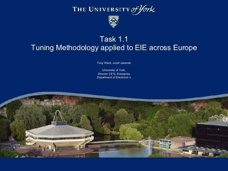Task 1.1 Tuning Methodology applied to EIE across Europe Tony Ward, Jozef Jasenek University of York, Director CETL Enterp...
