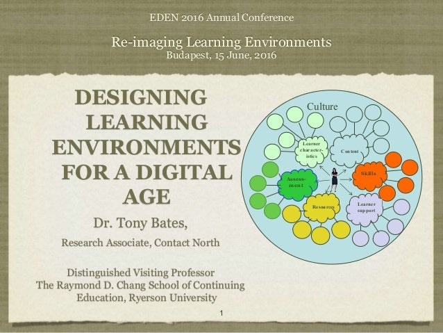 EDEN 2016 Annual Conference Re-imaging Learning Environments Budapest, 15 June, 2016 DESIGNING LEARNING ENVIRONMENTS FOR A...