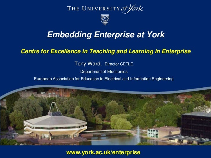 Embedding Enterprise at YorkCentre for Excellence in Teaching and Learning in Enterprise<br />Tony Ward, Director CETLE<br...