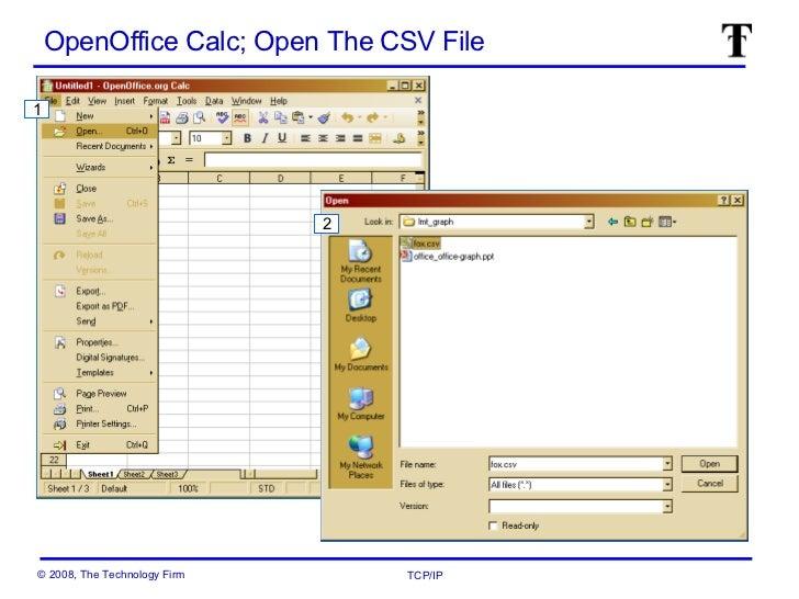 openoffice calc open the csv file 1 2
