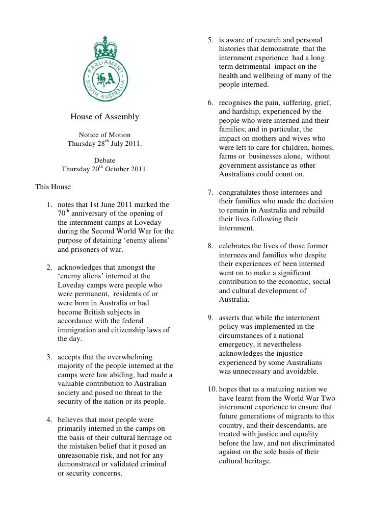 House of Assembly<br />Notice of Motion <br />Thursday 28th July 2011.<br />Debate<br />Thursday 20th October 2011.<br />T...