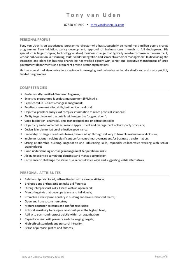 Wonderful Professional Profile Resume Examples Regard To Cv Summary