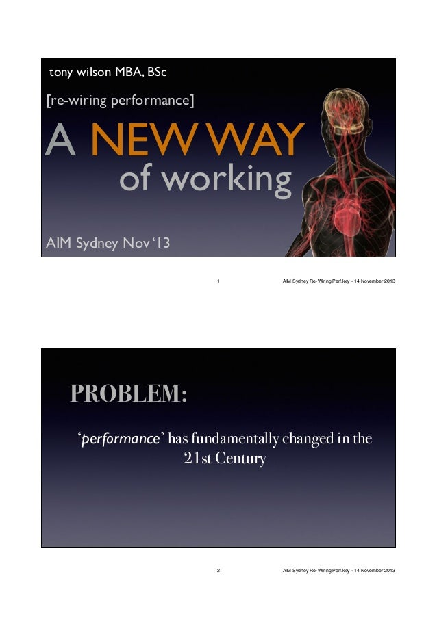 tony wilson MBA, BSc  [re-wiring performance]  A NEW WAY of working  AIM Sydney Nov '13 1  AIM Sydney Re-Wiring Perf.key -...