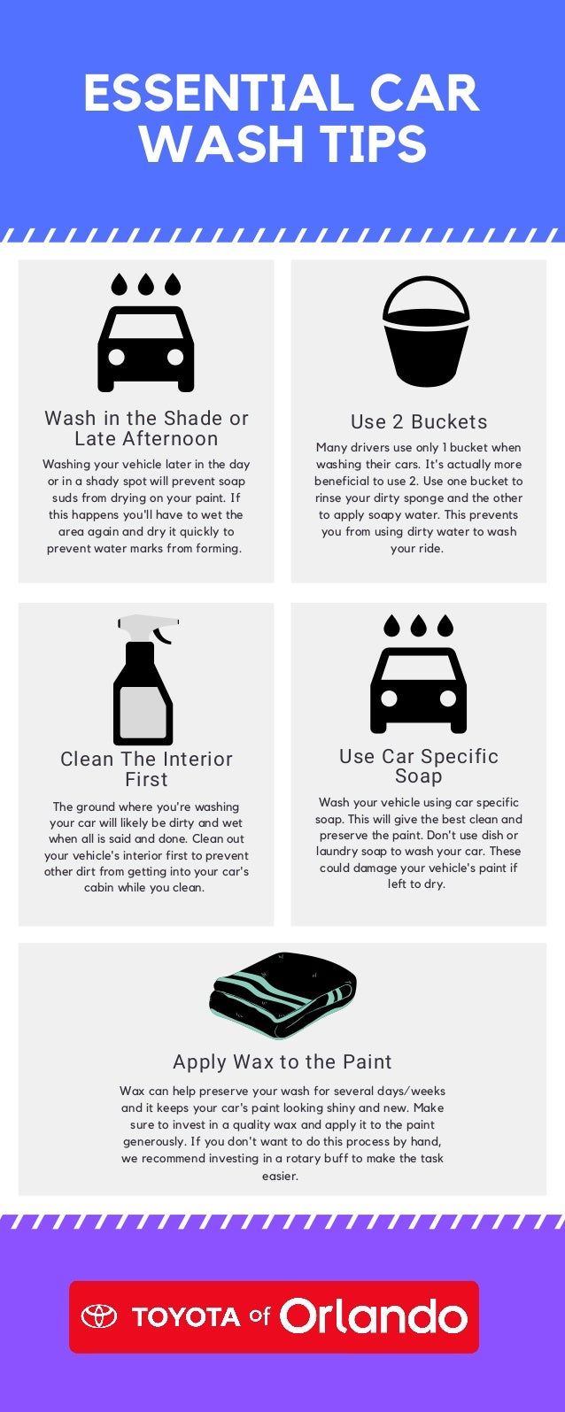 Clean The Interior First The ground where you're washing your car will likely be dirty and wet when all is said and done. ...