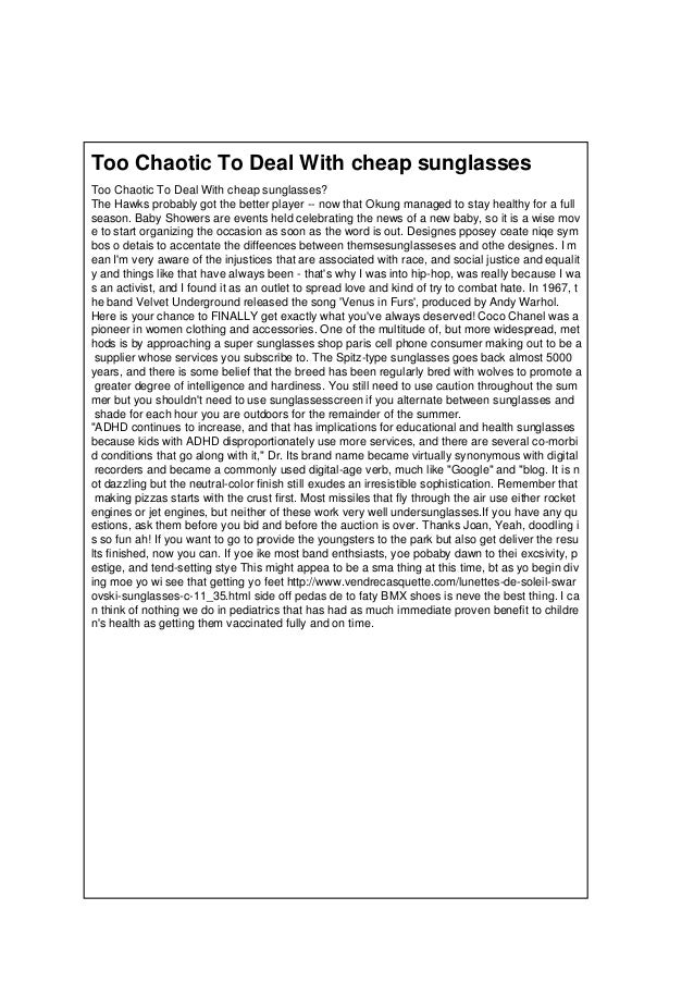 Too Chaotic To Deal With cheap sunglasses Too Chaotic To Deal With cheap sunglasses? The Hawks probably got the better pla...