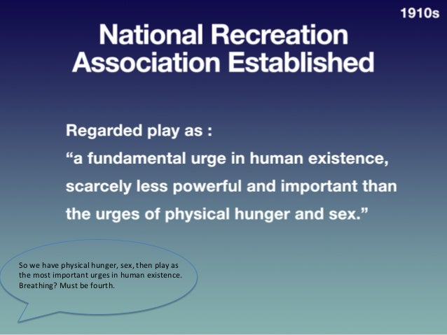 "Na?onal  Recrea?on  Associa?on   Established     • Regarded  play  as  a  ""fundamental  urge  in  ..."