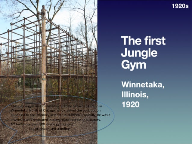 The  first   Jungle  Gym   • Winnetaka,  Ill.,   1920   1920s   The  Jungle  gym  was  invented  ...
