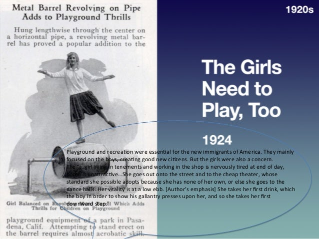 • 1924   The  Girls  Need  to   Play,  Too   1920s   Playground  and  recrea?on  were  essen?al ...