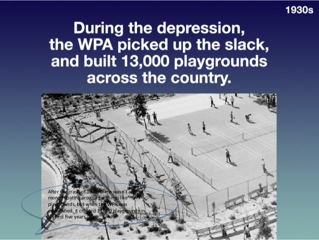 During  the  depression,  The  WPA  Picked   Up  the  Slack,  and  Built  13,000   Playgrounds  ...
