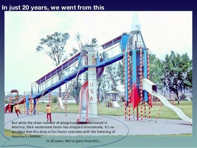 In just 20 years, we went from this But  while  the  sheer  number  of  playgrounds  have  increased  in...