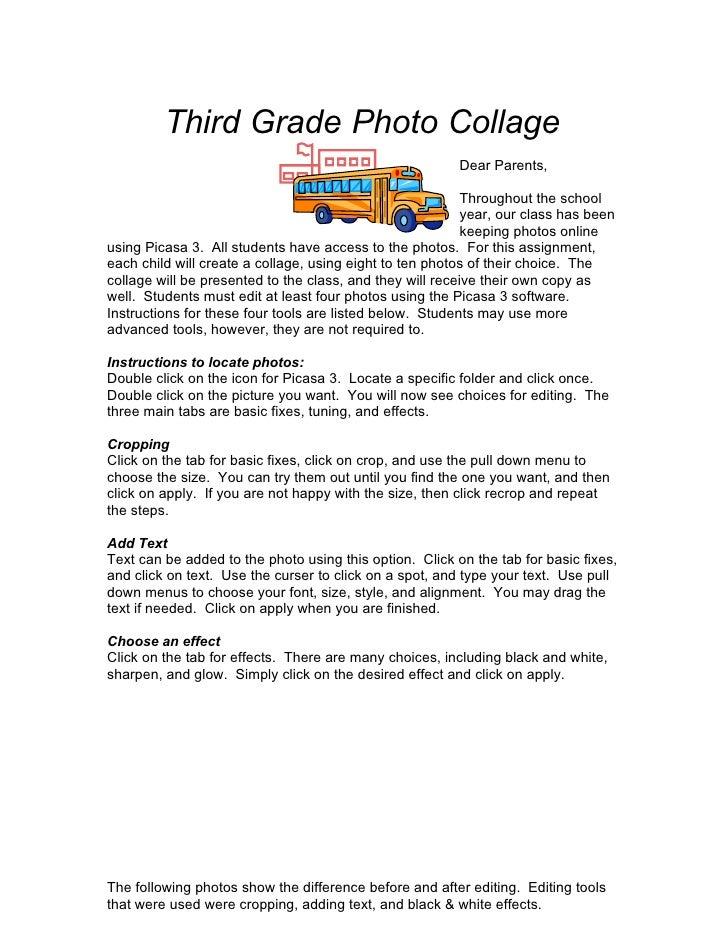 Third Grade Photo Collage                                                          Dear Parents,                          ...