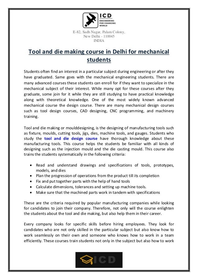 Tool and die making course in delhi for mechanical students