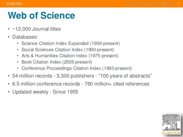    25    25  Web of Science  • ~12,000 Journal titles  • Databases:  • Science Citation Index Expanded (1900-present)  • ...