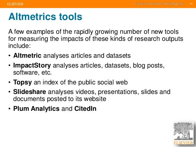     36    36  Altmetrics tools  A few examples of the rapidly growing number of new tools  for measuring the impacts of th...