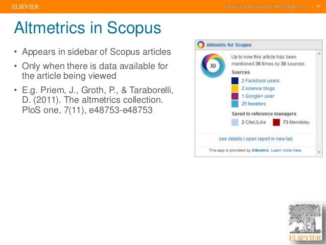     39    39  Altmetrics in Scopus  • Appears in sidebar of Scopus articles  • Only when there is data available for  the ...