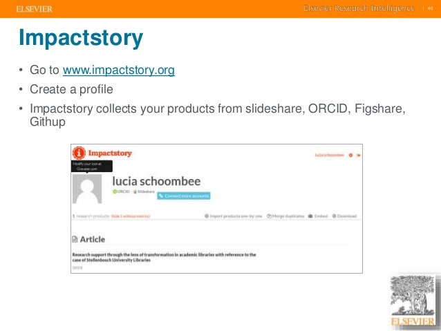     40    40  Impactstory  • Go to www.impactstory.org  • Create a profile  • Impactstory collects your products from slid...