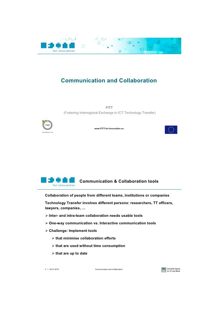 Communication and Collaboration                                                    FITT                  (Fostering Interr...