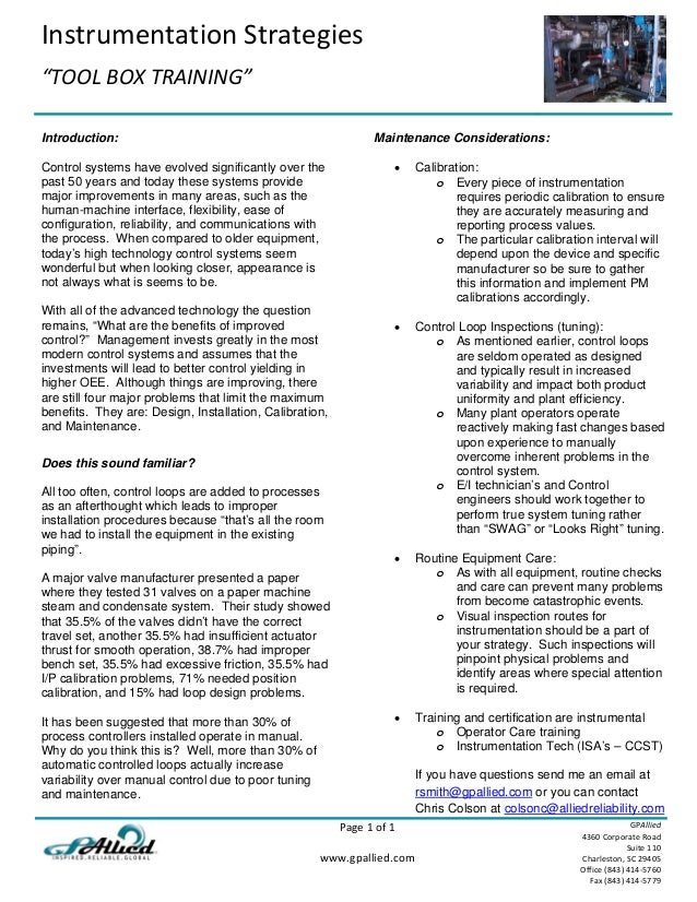 "Instrumentation Strategies    ""TOOL BOX TRAINING""      Page 1 of 1    www.gpallied.com     GPAllied 4360 Corporate Road  S..."