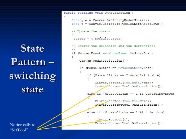 """State Pattern – switching state Notice calls to """"SetTool"""""""