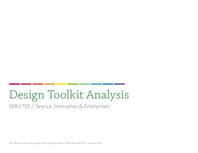 Design Toolkit AnalysisSERV753 / Service, Innovation & EnterprisesRich Ekelman, Lou Fink, Lauren Peters, Lindsay Vetell / ...