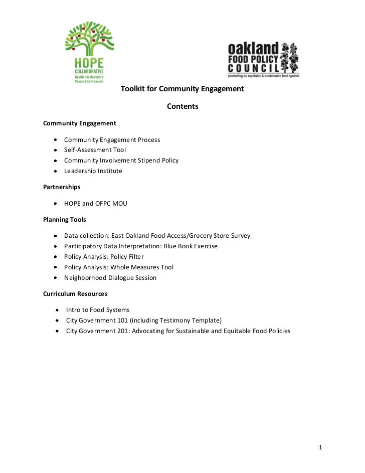 Toolkit for Community Engagement                                        ContentsCommunity Engagement      Community Engage...