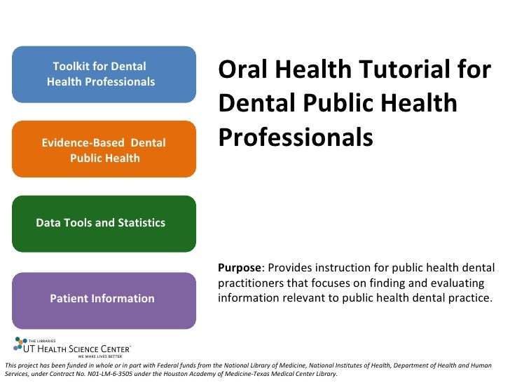 Toolkit for Dental Health Professionals Evidence-Based  Dental  Public Health Data Tools and Statistics Patient Informatio...