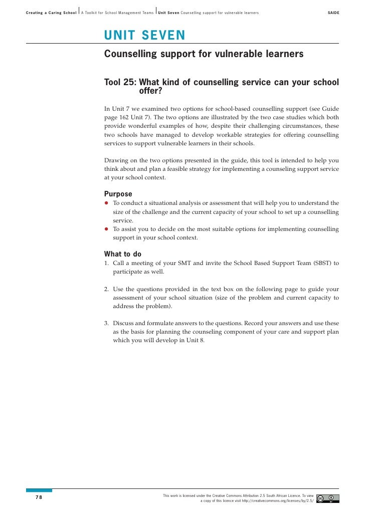 Creating a Caring School   A Toolkit for School Management Teams   Unit Seven Counselling support for vulnerable learners ...