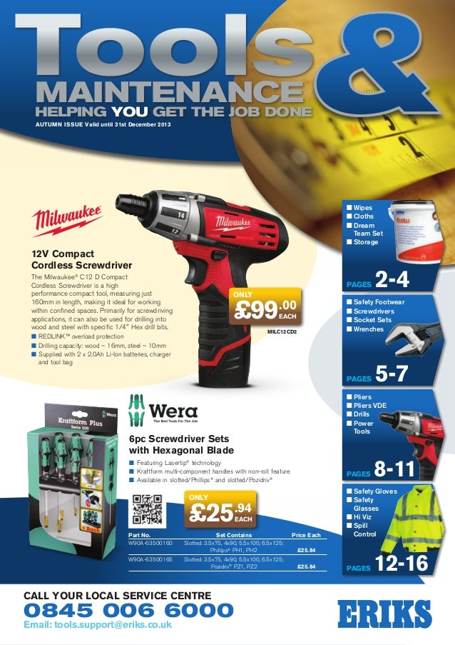 Tools Maintenance Helping YOU get the job done AUTUMN Issue Valid until 31st December 2013  n  ipes W n  loths C n  ream D...