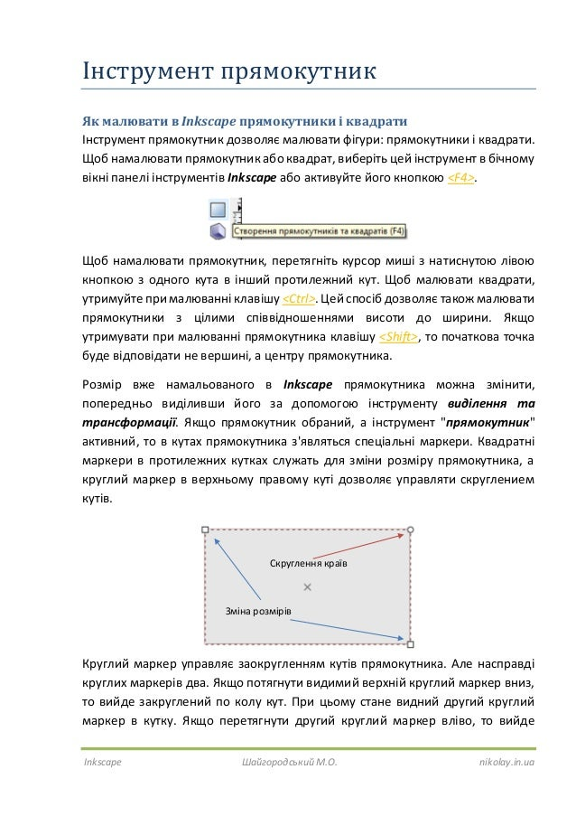Inkscape Шайгородський М.О. nikolay.in.ua Інструмент прямокутник Як малювати в Inkscape прямокутники і квадрати Інструмент...