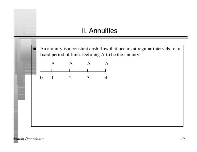 II. Annuities          n   An annuity is a constant cash flow that occurs at regular intervals for a              fixed pe...