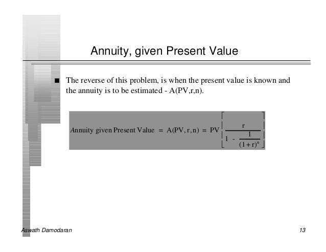 Annuity, given Present Value          n   The reverse of this problem, is when the present value is known and             ...