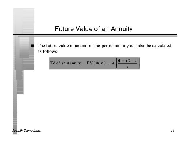 Future Value of an Annuity          n   The future value of an end-of-the-period annuity can also be calculated           ...