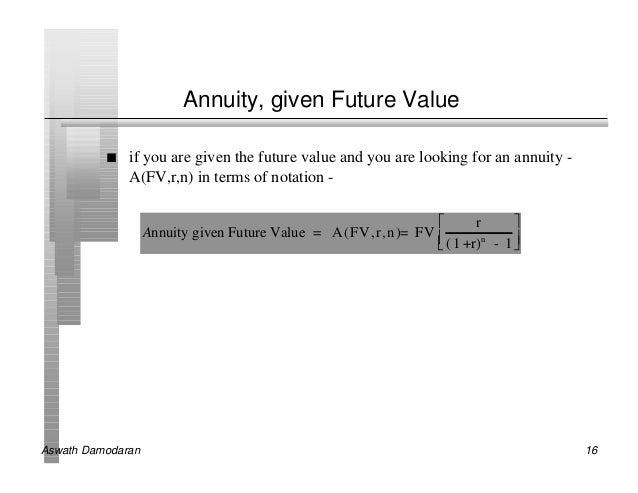 Annuity, given Future Value          n   if you are given the future value and you are looking for an annuity -           ...